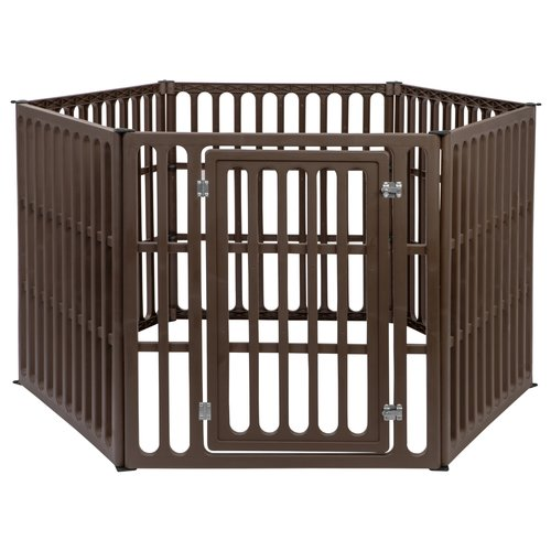 IRIS 6-Panel Heavy Duty Pet Pen, Brown