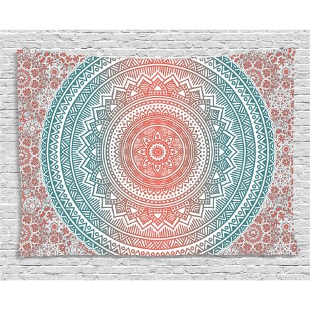 Antique Tapestry (Teal and Coral Tapestry, Ombre Mandala Art Antique Gypsy Stylized Folk Pattern Mystical Cosmos Image, Wall Hanging for Bedroom Living Room Dorm Decor, 80W X 60L Inches, Teal Coral, by Ambesonne)