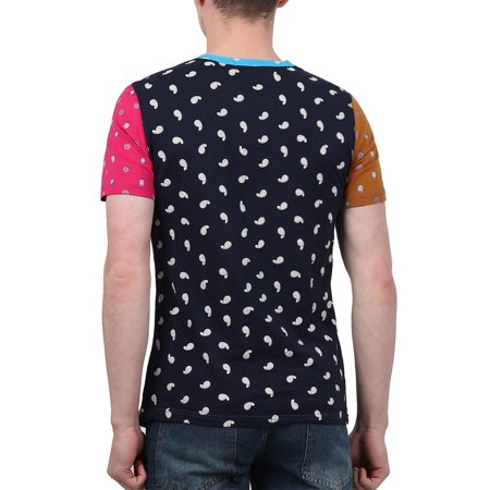 Men Color Block Paisleys Novelty Print T-Shirt Sea Blue L - image 4 of 7