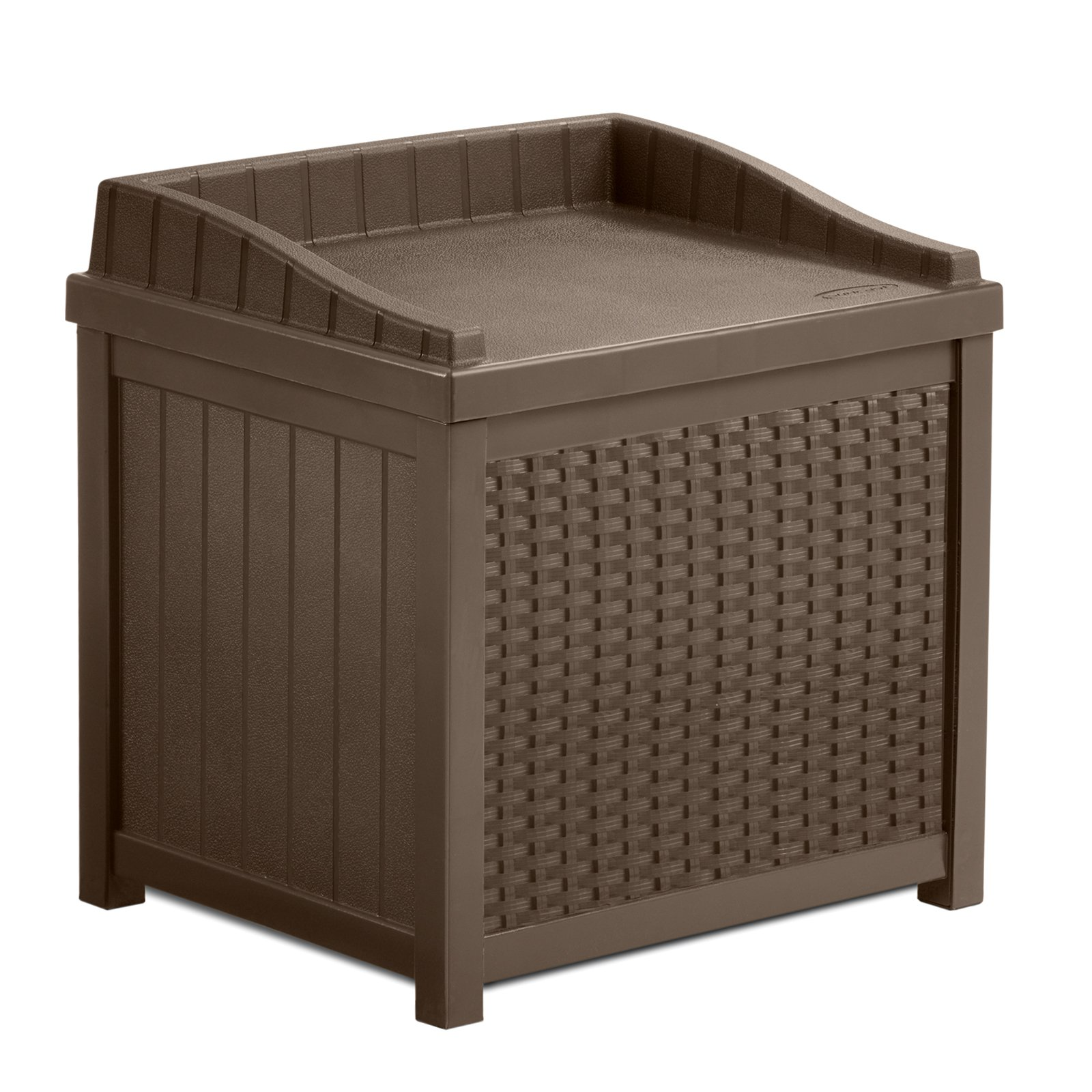 Suncast 22 Gallon Java Resin Wicker Small Storage Seat Deck Box SSW1200    Walmart.com