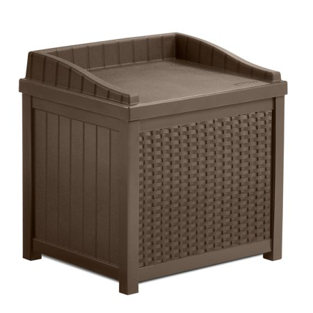 Suncast 22 Gallon Java Resin Wicker Small Storage Seat Deck Box SSW1200 ()