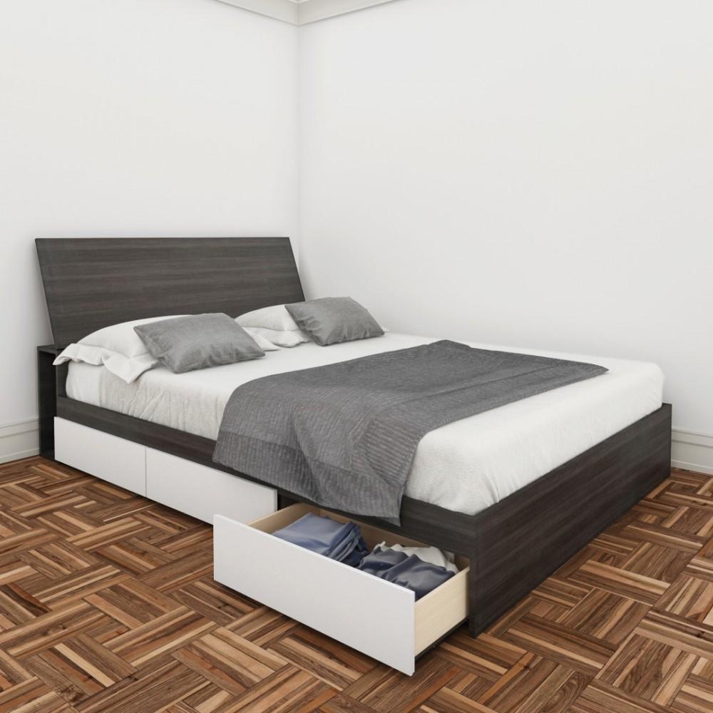 Platform Bed With Allure Storage Headboard Sizetwin Walmart Com