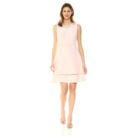 Tommy Hilfiger Solid Scuba Crepe Swing Dress with Faggoting Trim, Ivory, 10 Solid Crepe Dress