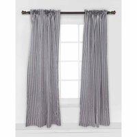 Bacati - Pin Stripes Curtain Panel 42 x 84 inches 100% Cotton Percale Fabrics, Black/White