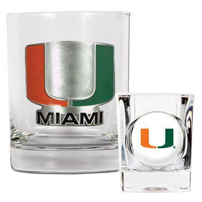 NCAA - Miami Hurricanes Rocks Glass and Shot Glass Set
