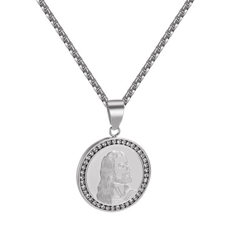 Stainless Steel Jesus Face Pendant Coin Design Stainless Steel Lab Created Cubic Zirconias Chain - Jesus Face Pendant