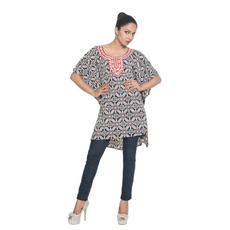 671652eb4b8 Oussum - Black and White Short Kaftan Dresses for Women Geometric Tunic Top  Beach Women Cover-ups Plus Size Short Caftan Nightwear Online - Walmart.com
