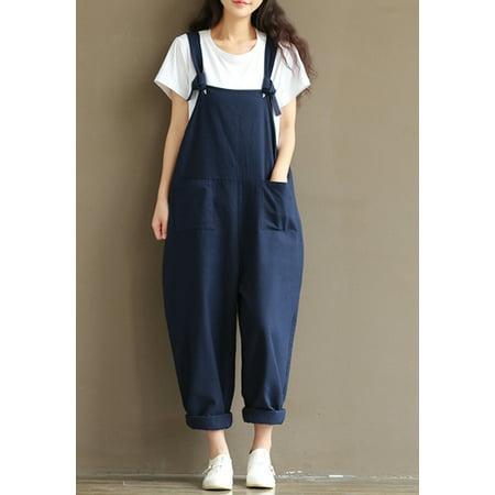 73b4114f63 UKAP - Fashion Women Girls Loose Solid Jumpsuit Strap Dungaree Harem  Trousers Ladies Overall Pants Casual Playsuits Plus Size M-3XL - Walmart.com
