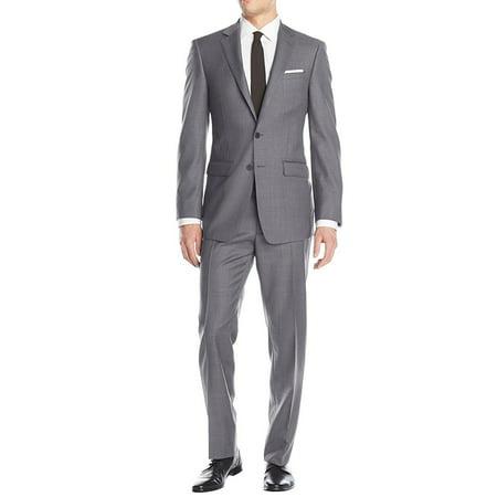 Pinstripe Two Button Suit Jacket (LN LUCIANO NATAZZI Men's Two Button Suit 2 Piece Set Modern Fit Jacket Birdseye Light Gray )