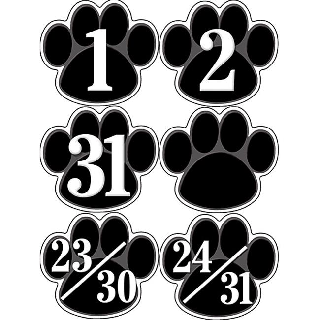 CALENDAR DAYS BLACK PAW PRINTS