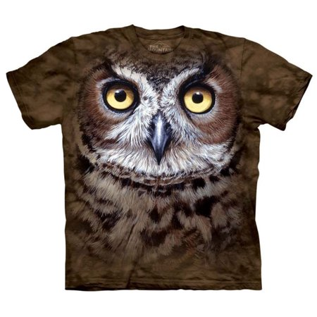 Great Horned Owl Head Close Up Adult T-Shirt Tee