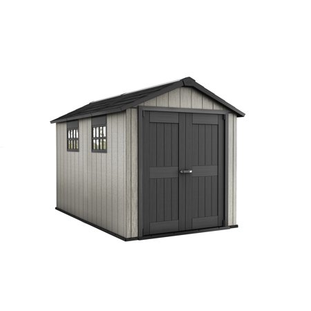Keter Oakland 7.5' x 11' Customizable Outdoor Storage Shed, Paintable with Windows and Skylight