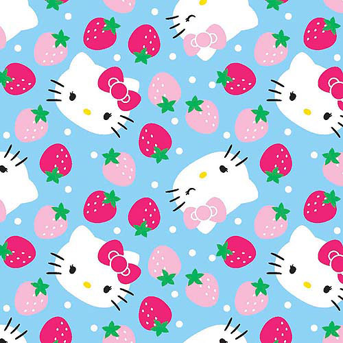 "Springs Creative Hello Kitty Fleece Strawberry Toss Light Blue 59"" wide Fabric by the Yard"