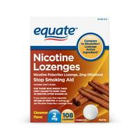 Equate Nicotine Polacrilex Lozenges 2 mg (nicotine), Cinnamon Flavor, Stop Smoking Aid, 108 Count