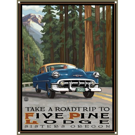 Five Pine Lodge Sisters Oregon Road Trip Woods Metal Art Print by Paul A. Lanquist (9