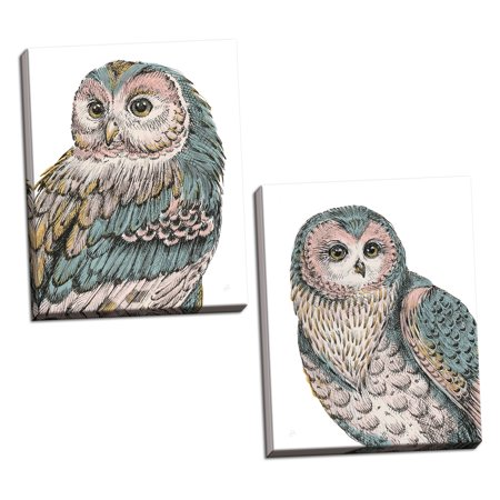 Gango Home Decor Shabby-Chic Beautiful Owls I & IV Pastel by Daphne Brissonnet (Ready to Hang); Two 16x20in Hand-Stretched Canvases