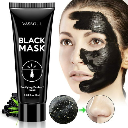 Vassoul Blackhead Remover Mask, Peel Off Blackhead Mask, Blackhead Remover - Deep Cleansing Black Mask, Bamboo Activated Charcoal Peel-Off