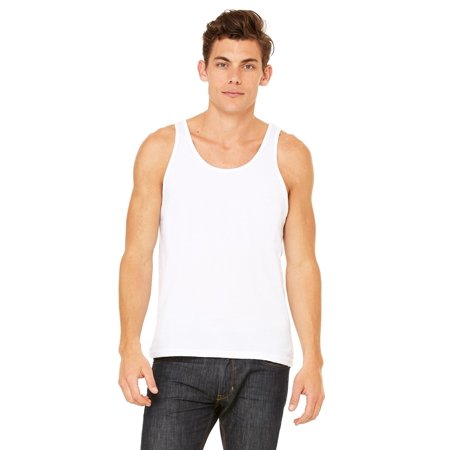 Branded Bella + Canvas Unisex Jersey Tank Top - WHITE - L (Instant Saving 5% & more)
