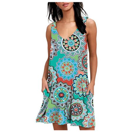 Women's Mini Dresses Bohemian Casual V Neck Sleeveless Floral Print Swing Retro T Shirt Tank Dress with (Retro Print Sleeveless)