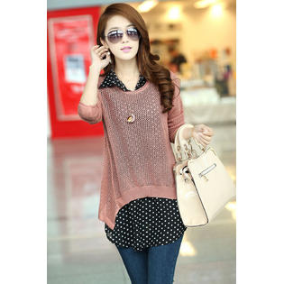 Women Polka Dot Shirt with Knitted Top Blouse