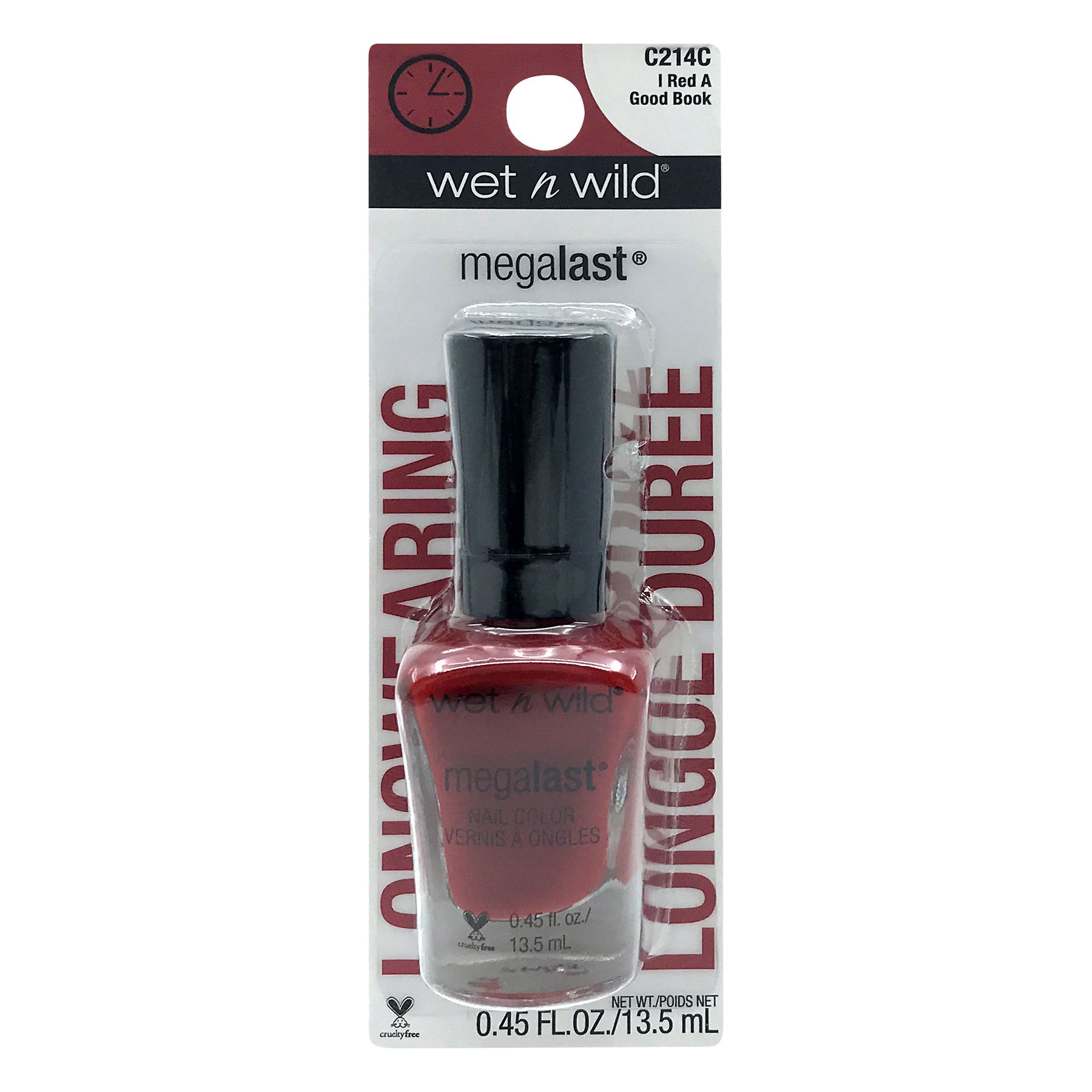 Wet n Wild Megalast Nail Color C214C I Red A Good Book, 0.45 FL OZ