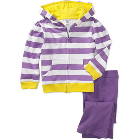 Faded Glory - Baby Girls' Stripe Hoodie and Knit Pants