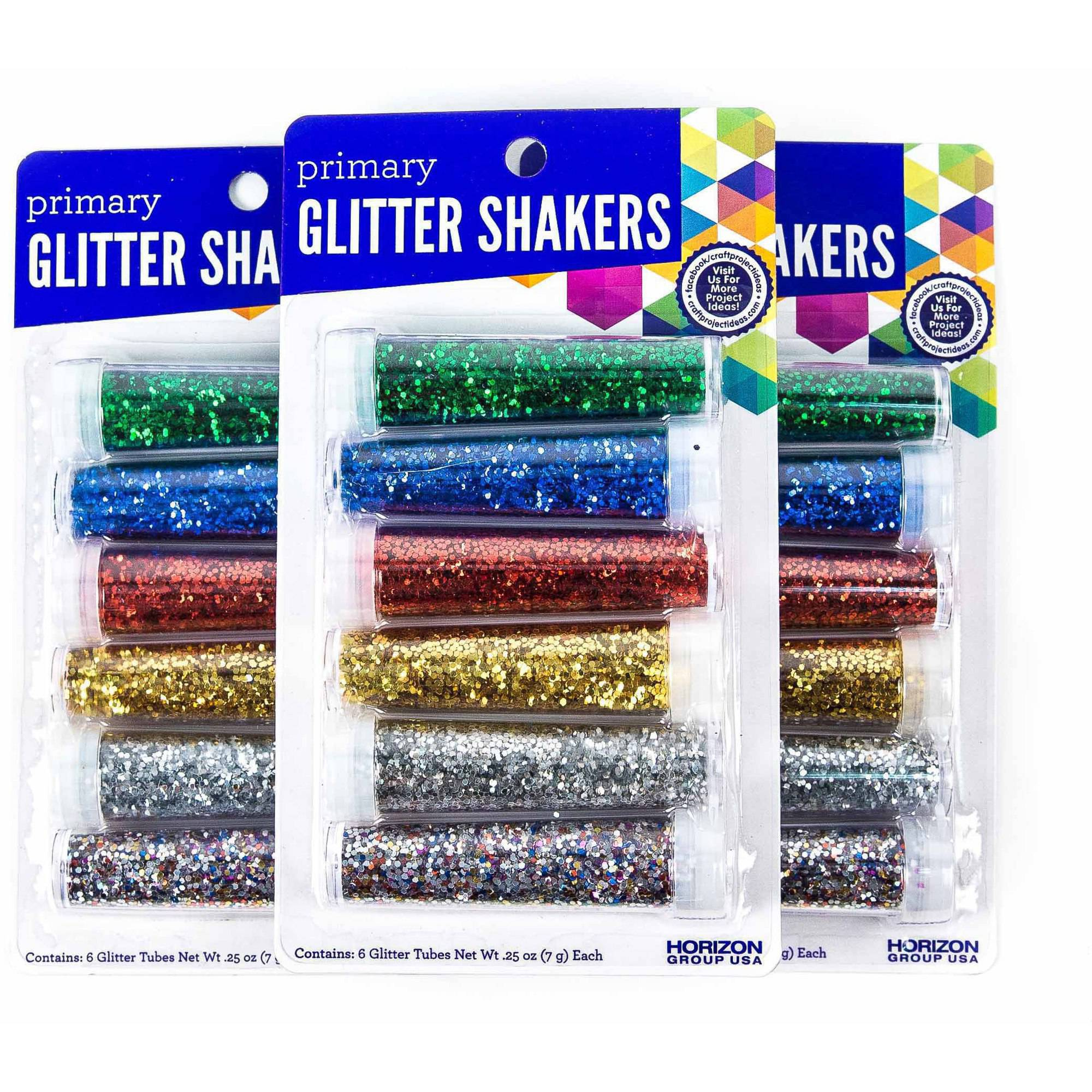 Primary Glitter Shakers, 3PKS - 6 ct. Each by Horizon Group USA