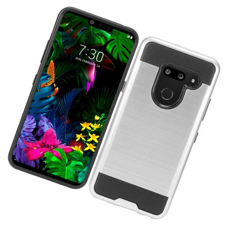 LG G8 ThinQ Phone Case Heavy Duty Metallic Brushed Texture Slim Hybrid Shock Proof Dual Layer Armor Defender Protective TPU Rubber Rugged Cover SILVER Thin Case Cell Phone Cover for LG G8 Thinq