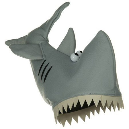 Shark Costume Hat Fish Plush Jaws Gray Animal Ocean Man Eater Grey Accessory