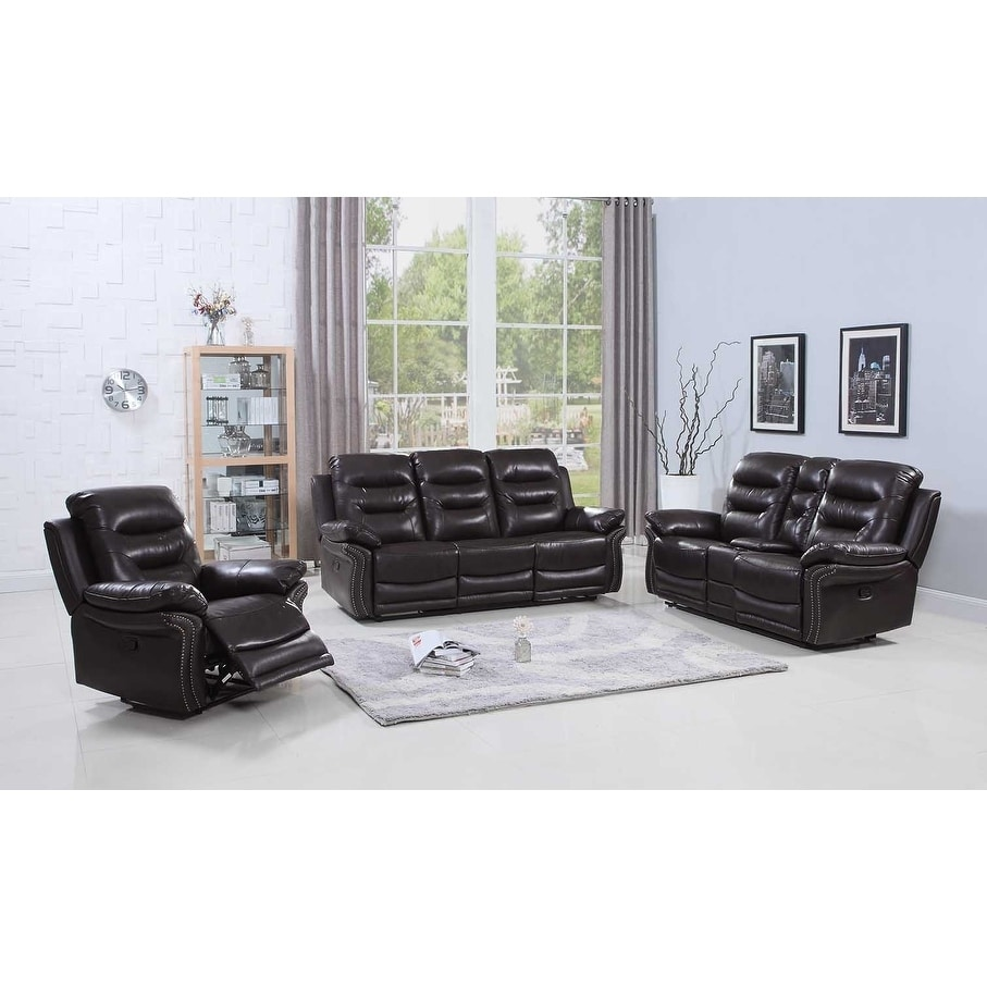 Leather Air/Match Upholstered 3-Piece Living Room Recliner Sets