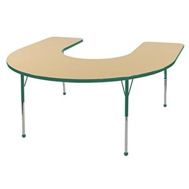 s 60 x 66 in. Horseshoe Adjustable Activity Table with Toddler Legs, Ball Glides Maple & Green by GreatGames