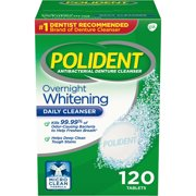 Polident Overnight Whitening Antibacterial Denture Cleanser Tablets, 120 Count
