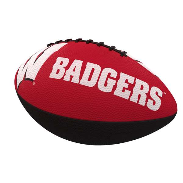 Wisconsin Combo Logo Junior-Size Rubber Football