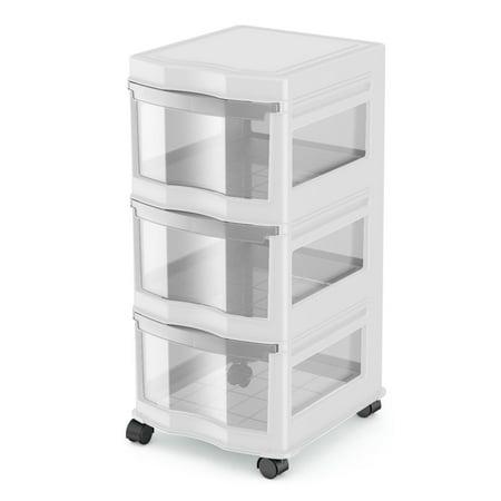 Life Story Clic 3 Shelf Storage Container Organizer Plastic Drawers White