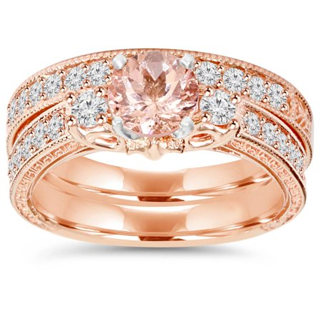 1 1/2Ct Vintage Diamond & Morganite Engagement Wedding Ring Set 14K Rose Gold - image 3 of 3