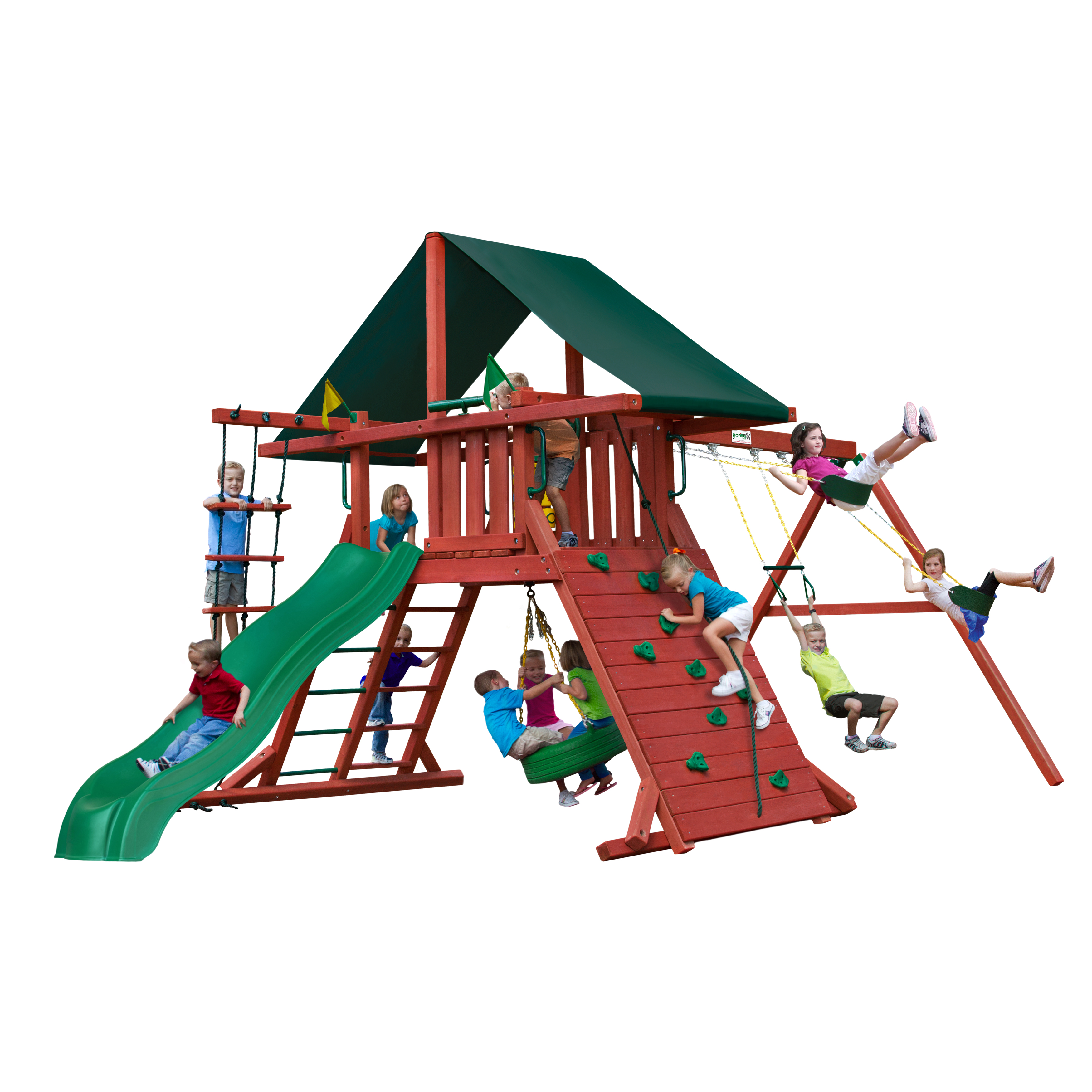Gorilla Playsets Sun Climber I Wooden Swing Set with Sunbrella® Canvas Canopy, Rock Climbing Wall, and Tire Swing