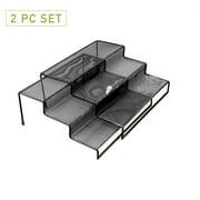 Mind Reader 3 Tier Metal Mesh Multi Purpose Kitchen Storage Organizer Steps, 2 Pcs, Black