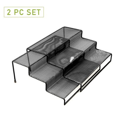 Mind Reader 3 Tier Metal Mesh Multi Purpose Kitchen Storage Organizer Steps, 2 Pcs, Black