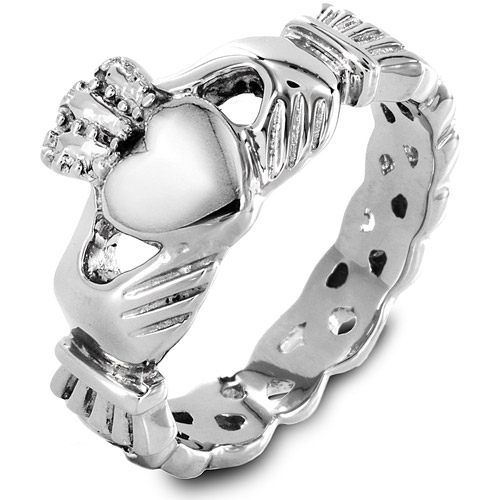 ELYA Stainless Steel Claddagh Ring with Celtic Knot Eternity Design, 5mm