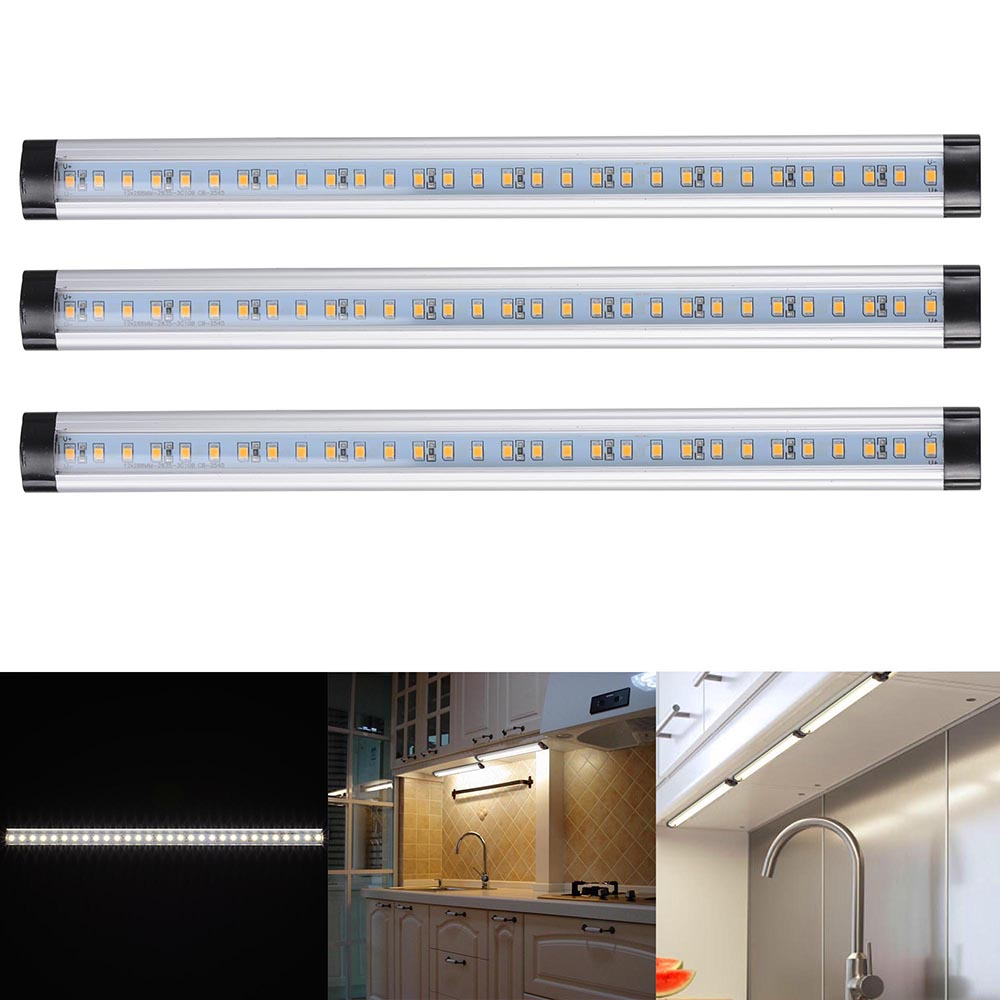 Yescom 3pcs 18W Under Cabinet Lighting 90 LEDs Light Bar Professional Kitchen Strip Lights Kit