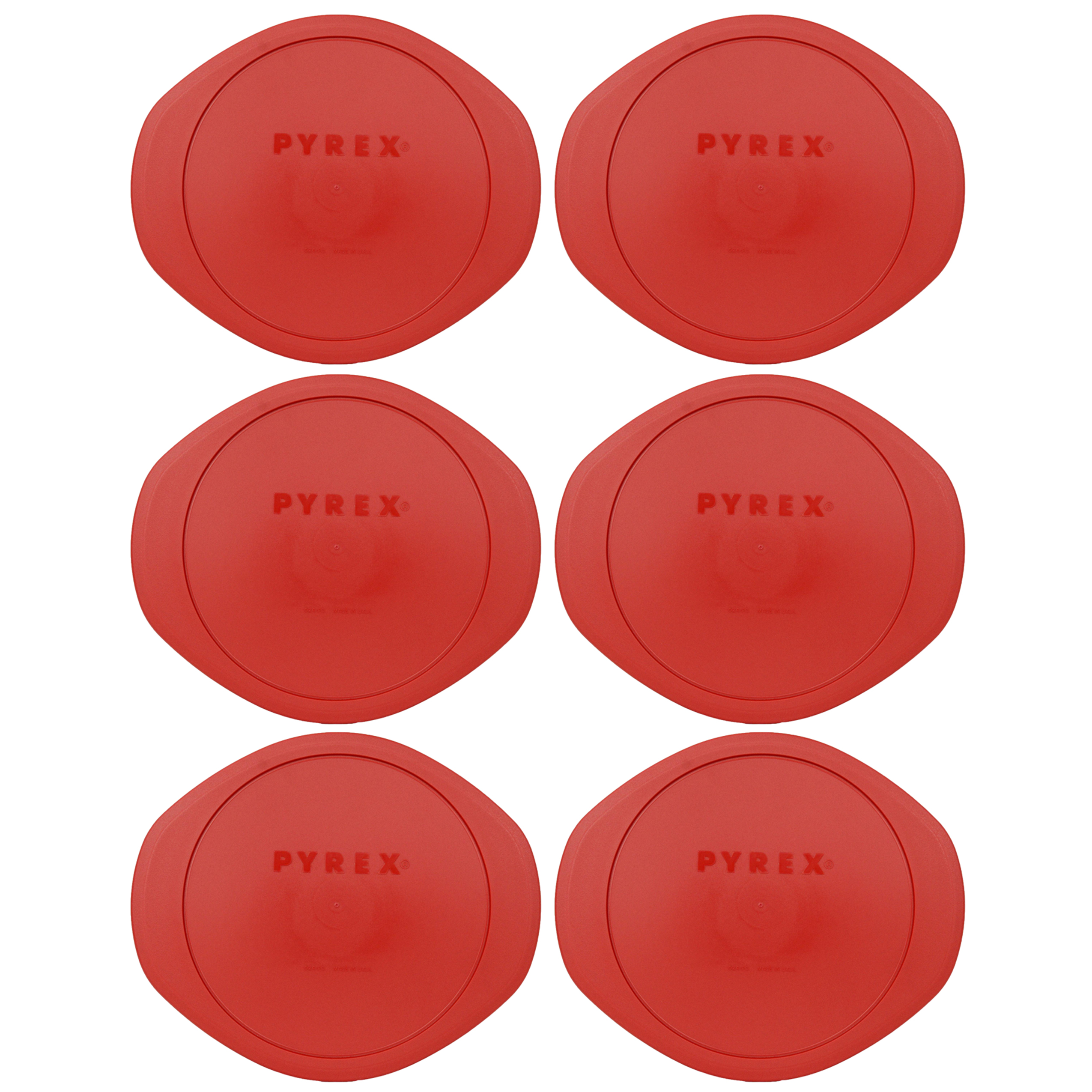 Pyrex Replacement Lid 024-PC Red Plastic Cover 6-Pack for Pyrex 2 Quart Glass Dish (Sold Separately)