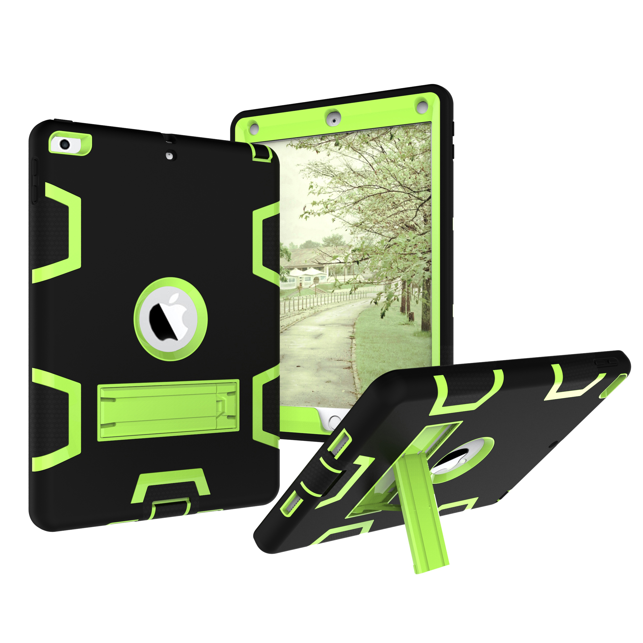iPad mini 4 Kids Case, Goodest Dural Layer Design Shockproof Build-in Stand Armor Defender Rugged Heavy Duty Protection Child Toddler Friendly Cover Shell for Apple iPad mini 4th Gen, Green+Black