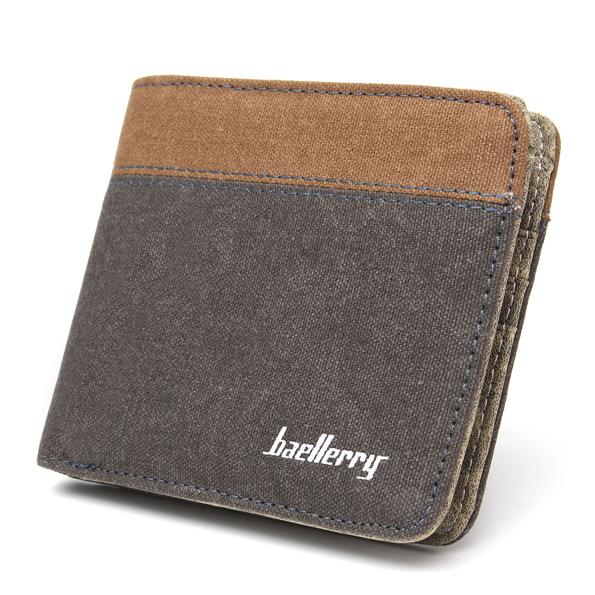 Pockets Credit/ID Card Holder Canvas Clutch Bifold Short Mens Coin Purse Wallet with 3* card slots,2*receipt position, 2* money position, 1* ID windows.,Grey color