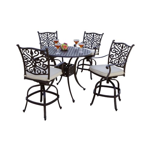 Astoria Grand Archway 5 Piece Pub Table Set with Cushions by