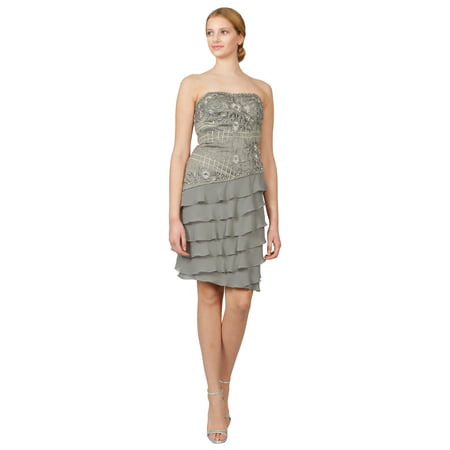 Sue Wong Platinum Beaded Strapless Asymmetric Tiered Ruffle Cocktail Dress ()