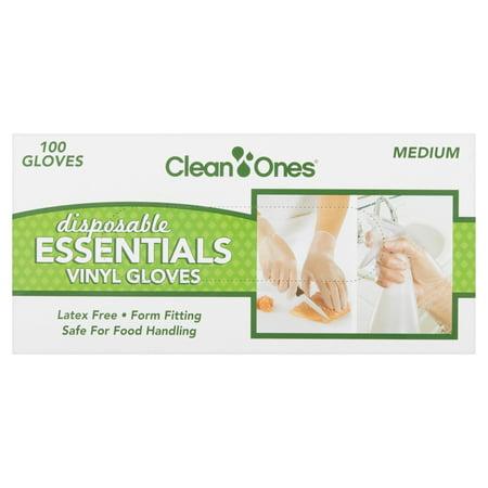 Clean Ones Disposable Essentials Vinyl Gloves Medium, 100 count