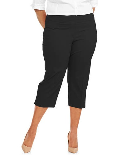 Women's Plus Size Stretch Woven Cropped Pant