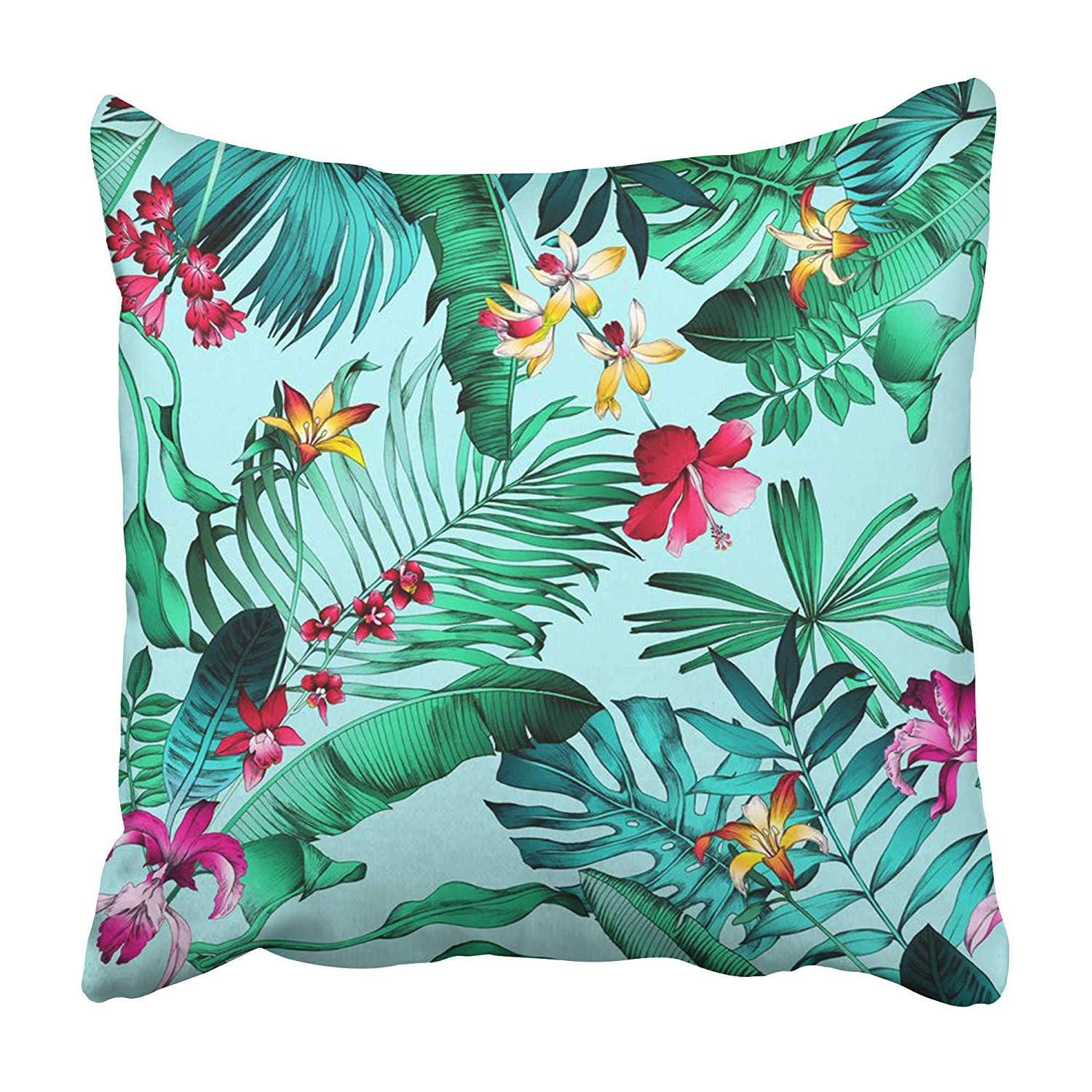 CMFUN Bright Multi Color Realistic Tropical with Monstera Leaves Palm and Banana Leaf Pillowcase 16x16 inch