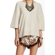 Free People NEW Beige Women's Size Large L Dolman Crewneck Sweater $108