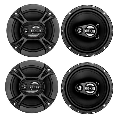 "4) Soundstorm SSL EX365 6.5"" 300W 3-Way Car Coaxial Audio Black Speakers Pair"